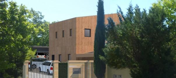 éco-construction - ossature bois - remplissage paille - enduit terre - bardage bois